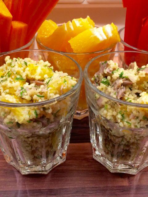 Couscous mit Resten vom Eisbein und Orangen