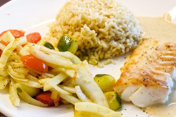Heilbutt mit Fenchelgemüse und Reis